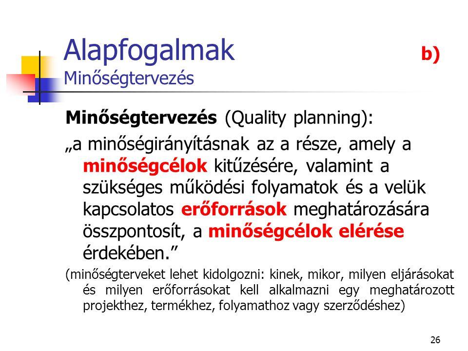 """26 Alapfogalmak b) Minőségtervezés Minőségtervezés (Quality planning): """"a minőségirányításnak az a része, amely a minőségcélok kitűzésére, valamint a"""
