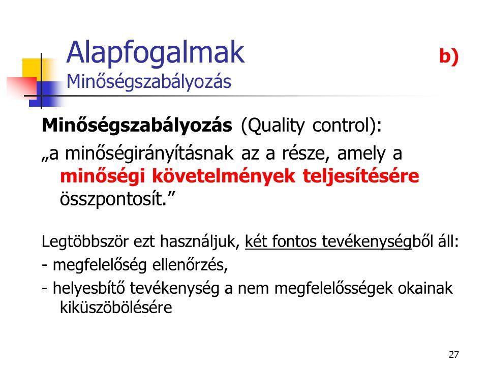 """27 Alapfogalmak b) Minőségszabályozás Minőségszabályozás (Quality control): """"a minőségirányításnak az a része, amely a minőségi követelmények teljesít"""