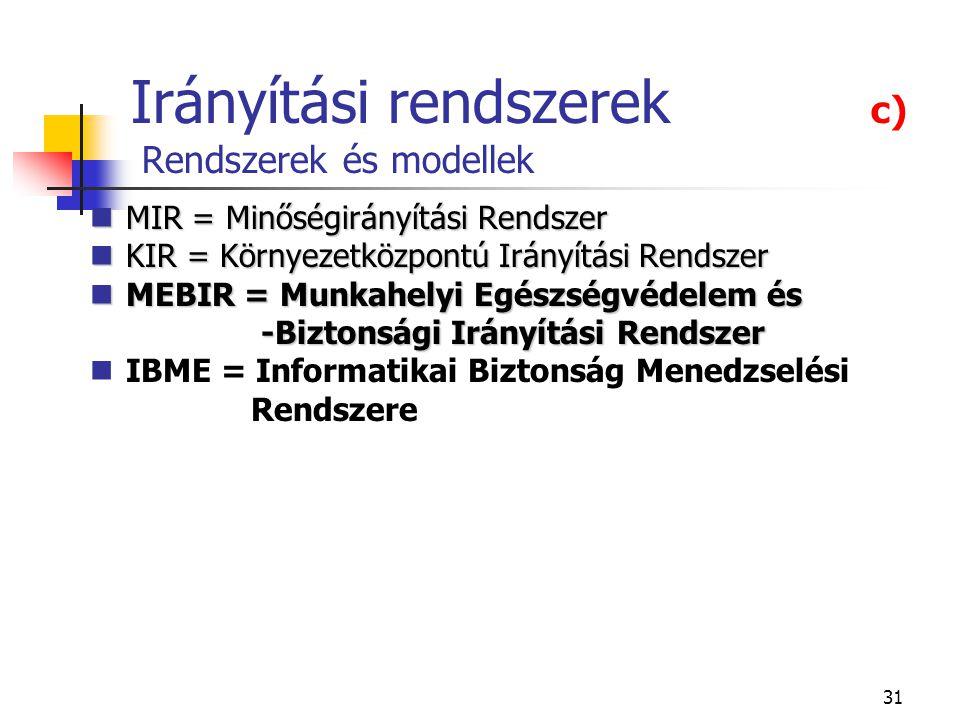 31 Irányítási rendszerek c) Rendszerek és modellek MIR = Minőségirányítási Rendszer MIR = Minőségirányítási Rendszer KIR = Környezetközpontú Irányítás