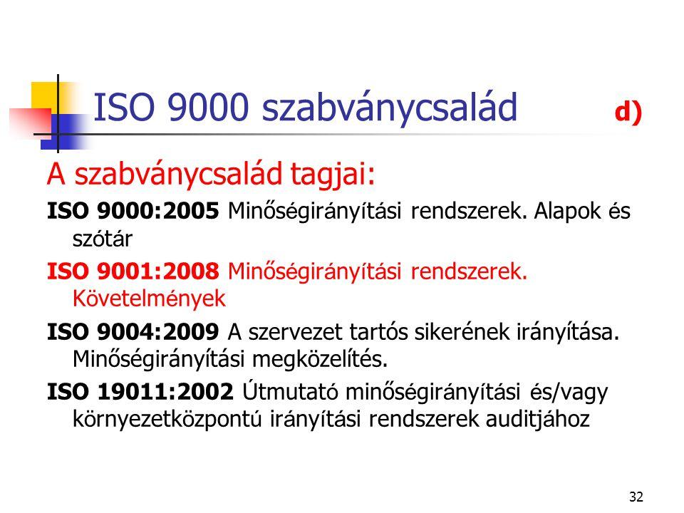 32 ISO 9000 szabványcsalád d) A szabványcsalád tagjai: ISO 9000:2005 Minős é gir á ny í t á si rendszerek. Alapok é s sz ó t á r ISO 9001:2008 Minős é