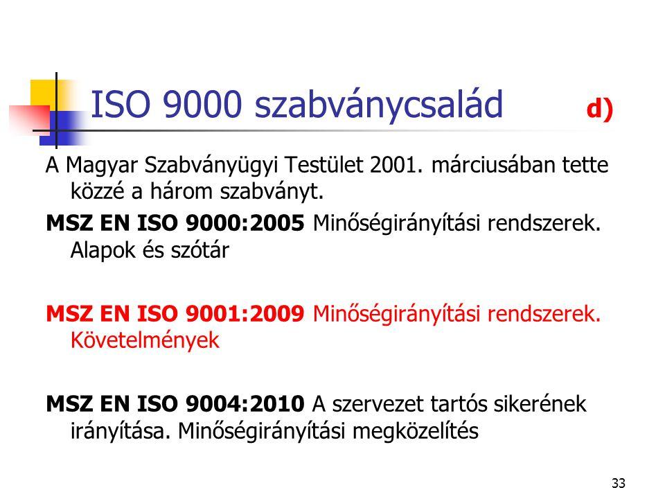 33 ISO 9000 szabványcsalád d) A Magyar Szabványügyi Testület 2001. márciusában tette közzé a három szabványt. MSZ EN ISO 9000:2005 Minőségirányítási r