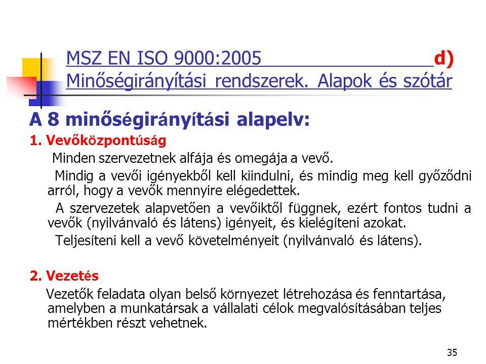 35 MSZ EN ISO 9000:2005 d) Minőségirányítási rendszerek. Alapok és szótár A 8 minős é gir á ny í t á si alapelv: 1. Vevők ö zpont ú s á g  Minden sze