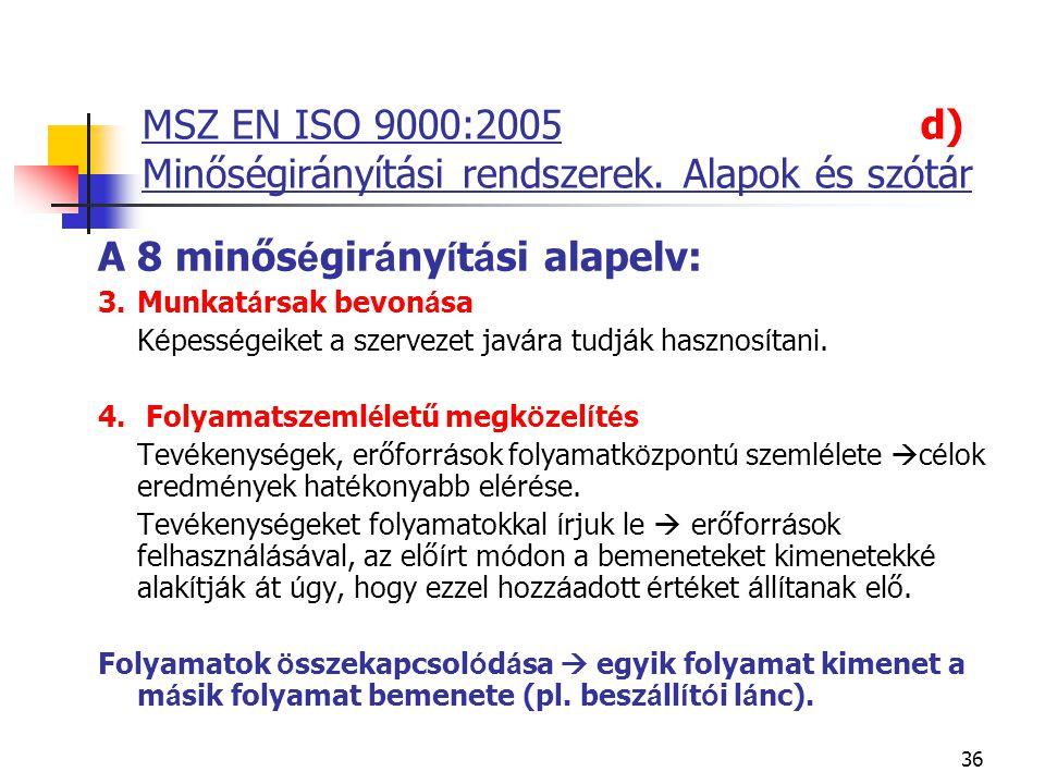 36 MSZ EN ISO 9000:2005 d) Minőségirányítási rendszerek. Alapok és szótár A 8 minős é gir á ny í t á si alapelv: 3.Munkat á rsak bevon á sa  K é pess