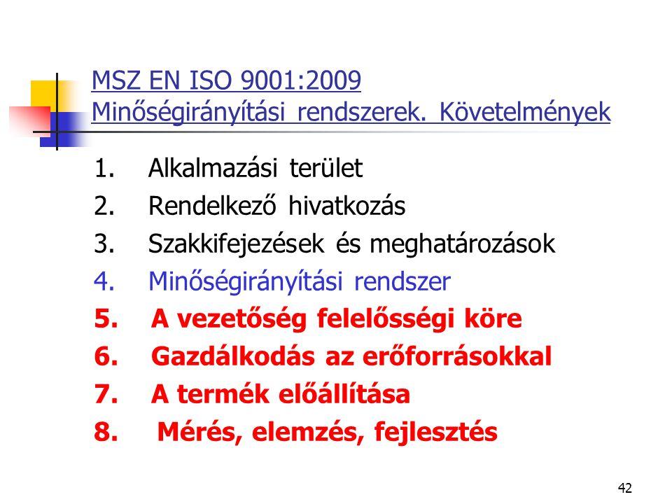 42 MSZ EN ISO 9001:2009 Minőségirányítási rendszerek. Követelmények 1. Alkalmazási terület 2. Rendelkező hivatkozás 3. Szakkifejezések és meghatározás