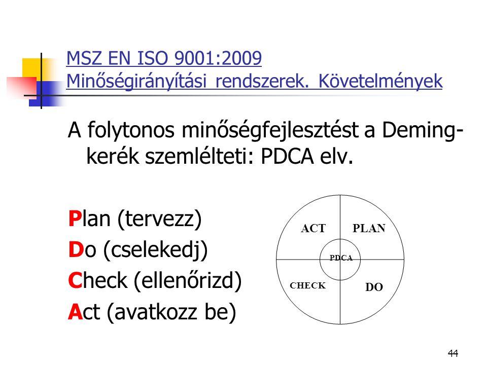 44 MSZ EN ISO 9001:2009 Minőségirányítási rendszerek. Követelmények A folytonos minőségfejlesztést a Deming- kerék szemlélteti: PDCA elv. Plan (tervez