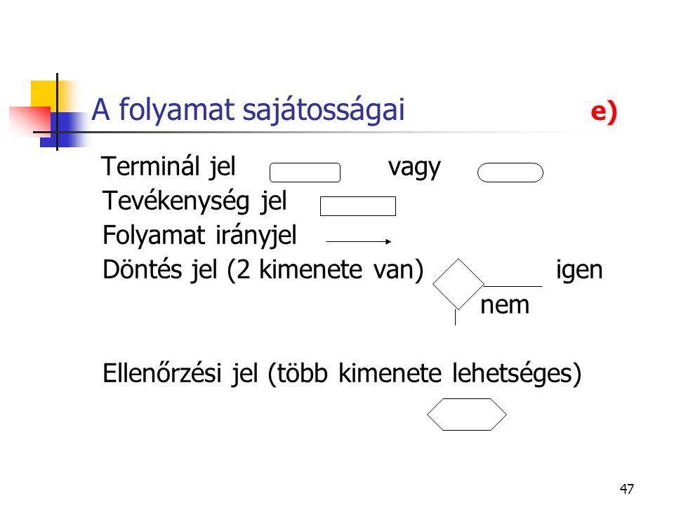47 A folyamat sajátosságai e) Terminál jel vagy Tevékenység jel Folyamat irányjel Döntés jel (2 kimenete van) igen nem Ellenőrzési jel (több kimenete