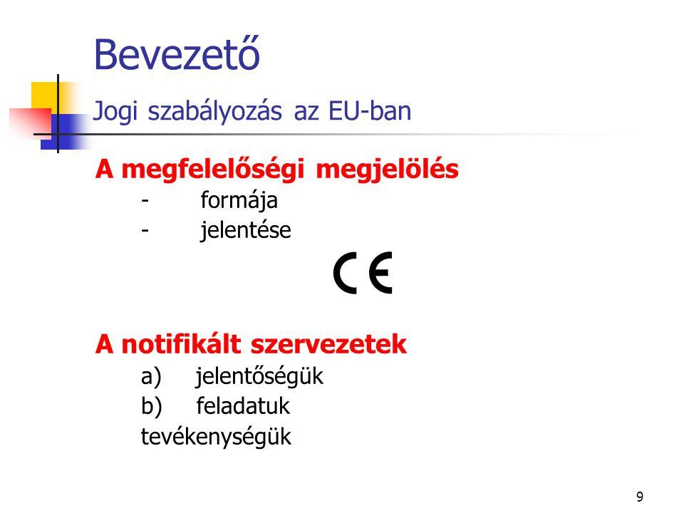 9 Bevezető Jogi szabályozás az EU-ban A megfelelőségi megjelölés - formája - jelentése A notifikált szervezetek a) jelentőségük b) feladatuk tevékenys