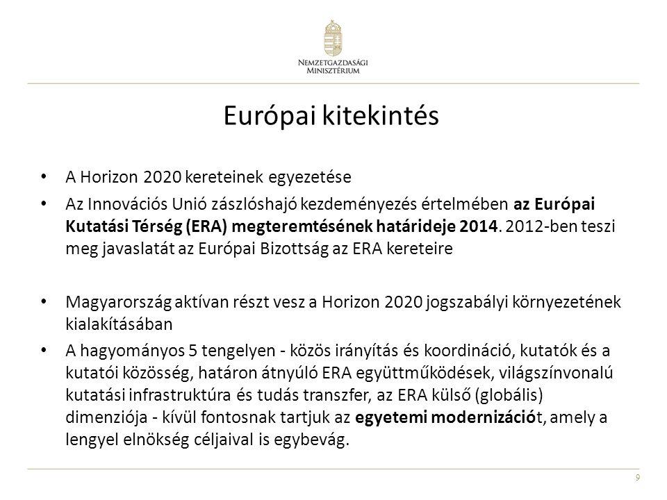 9 Európai kitekintés A Horizon 2020 kereteinek egyezetése Az Innovációs Unió zászlóshajó kezdeményezés értelmében az Európai Kutatási Térség (ERA) megteremtésének határideje 2014.