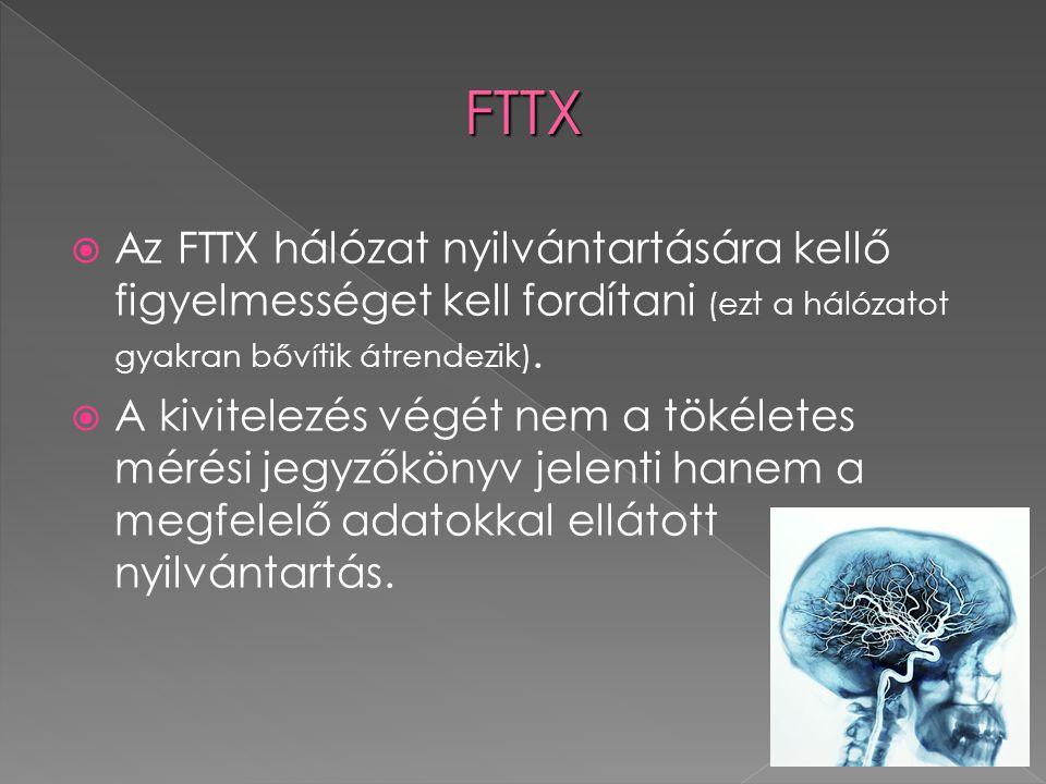  Az FTTX hálózat nyilvántartására kellő figyelmességet kell fordítani (ezt a hálózatot gyakran bővítik átrendezik).  A kivitelezés végét nem a tökél