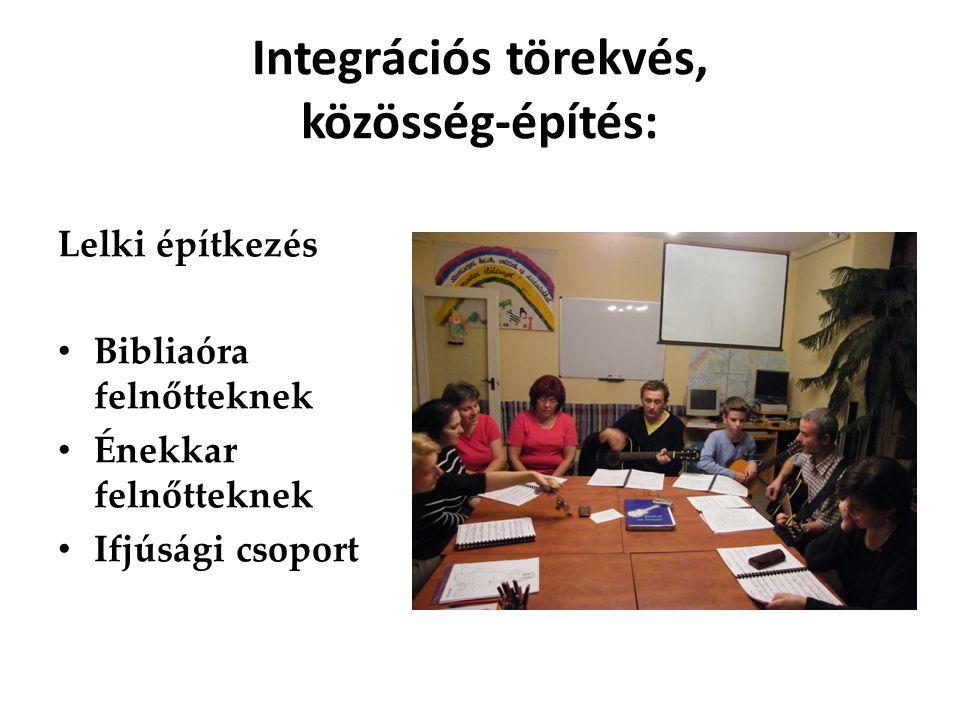 Integrációs törekvés, közösség-építés: Lelki építkezés Bibliaóra felnőtteknek Énekkar felnőtteknek Ifjúsági csoport
