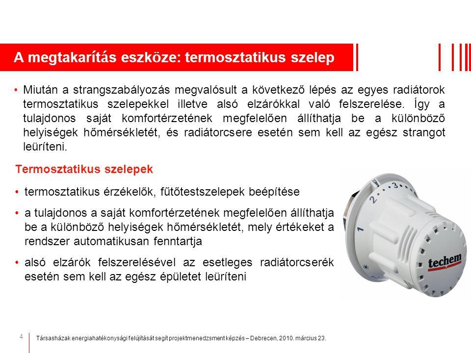 4 A megtakar í t á s eszk ö ze: termosztatikus szelep Termosztatikus szelepek termosztatikus érzékelők, fűtőtestszelepek beépítése a tulajdonos a sajá