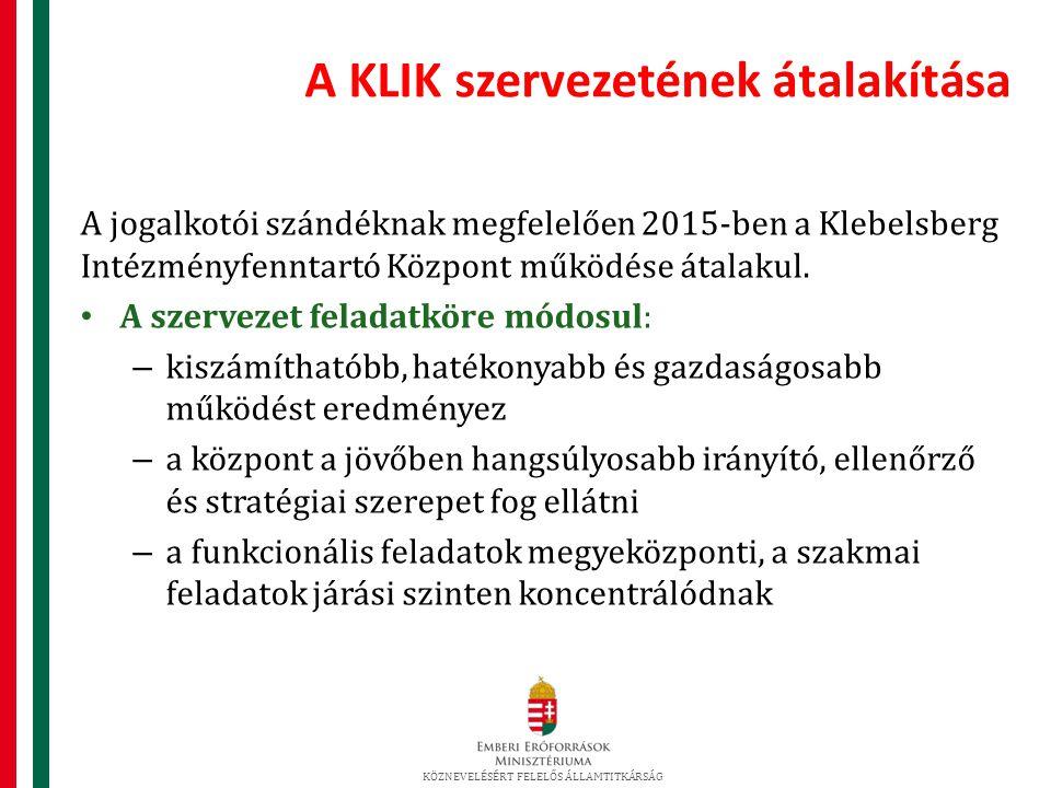 A KLIK szervezetének átalakítása A jogalkotói szándéknak megfelelően 2015-ben a Klebelsberg Intézményfenntartó Központ működése átalakul.
