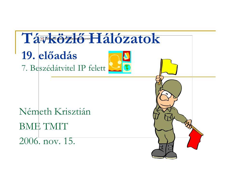 Távközlő Hálózatok 19. előadás 7. Beszédátvitel IP felett Németh Krisztián BME TMIT 2006. nov. 15.