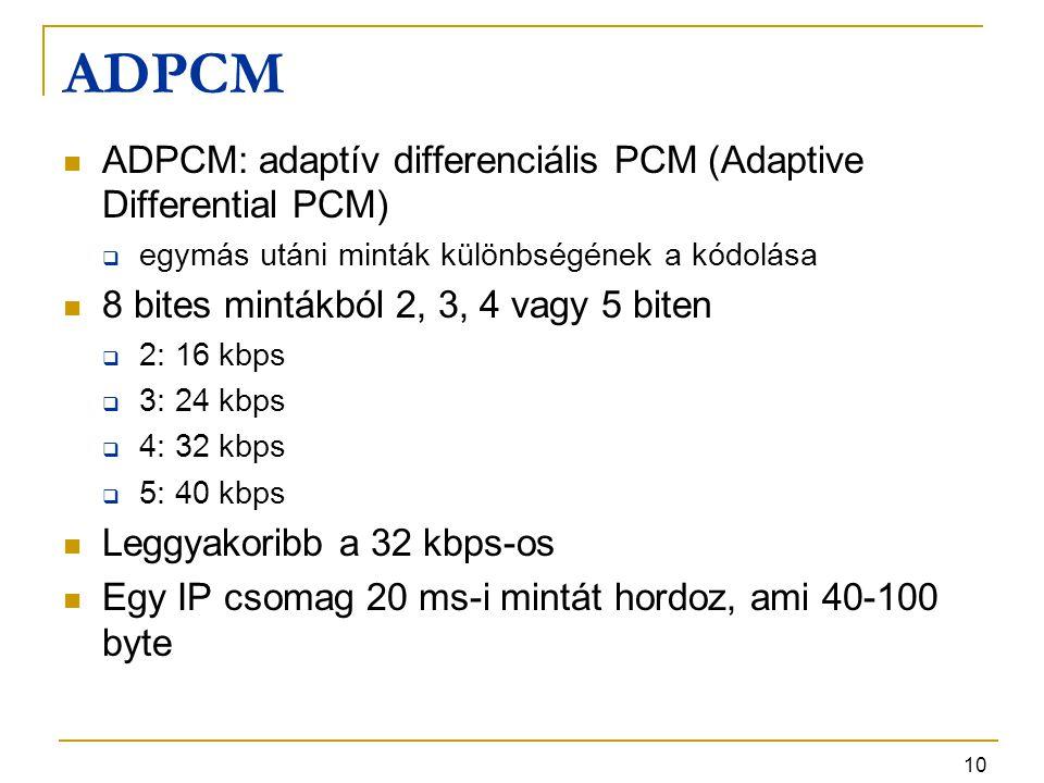 10 ADPCM ADPCM: adaptív differenciális PCM (Adaptive Differential PCM)  egymás utáni minták különbségének a kódolása 8 bites mintákból 2, 3, 4 vagy 5