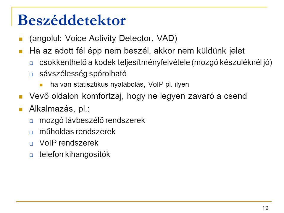 12 Beszéddetektor (angolul: Voice Activity Detector, VAD) Ha az adott fél épp nem beszél, akkor nem küldünk jelet  csökkenthető a kodek teljesítményf