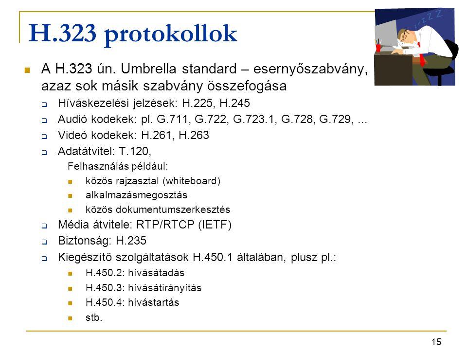 15 H.323 protokollok A H.323 ún. Umbrella standard – esernyőszabvány, azaz sok másik szabvány összefogása  Híváskezelési jelzések: H.225, H.245  Aud