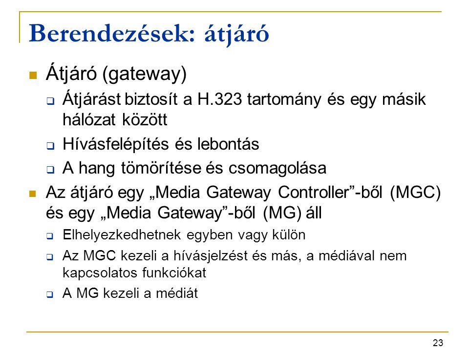 23 Berendezések: átjáró Átjáró (gateway)  Átjárást biztosít a H.323 tartomány és egy másik hálózat között  Hívásfelépítés és lebontás  A hang tömör