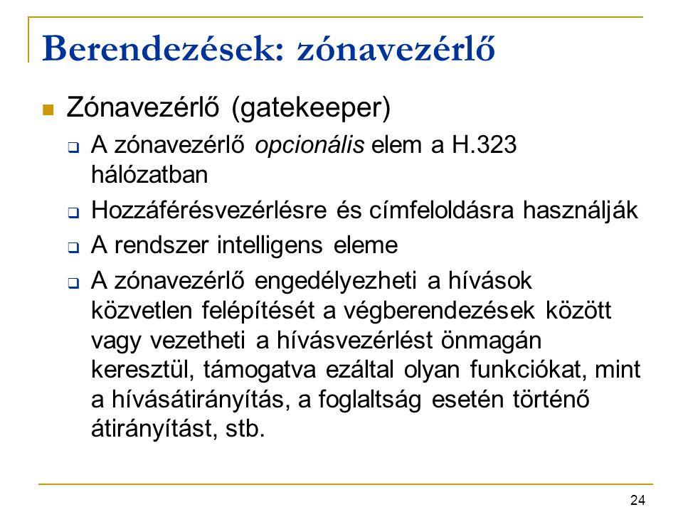 24 Berendezések: zónavezérlő Zónavezérlő (gatekeeper)  A zónavezérlő opcionális elem a H.323 hálózatban  Hozzáférésvezérlésre és címfeloldásra haszn
