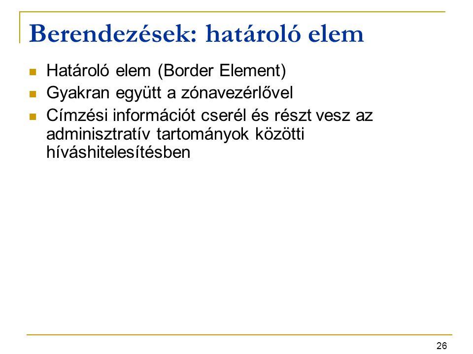 26 Berendezések: határoló elem Határoló elem (Border Element) Gyakran együtt a zónavezérlővel Címzési információt cserél és részt vesz az adminisztrat