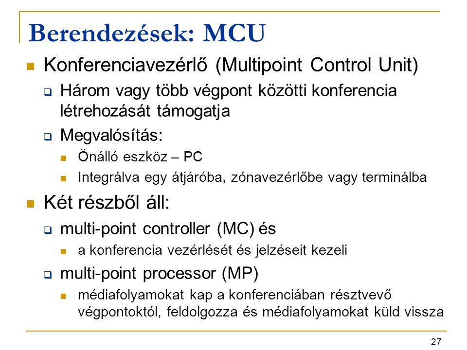 27 Berendezések: MCU Konferenciavezérlő (Multipoint Control Unit)  Három vagy több végpont közötti konferencia létrehozását támogatja  Megvalósítás: