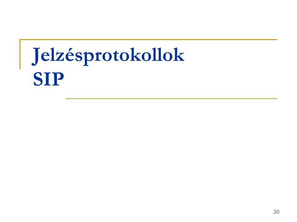 30 Jelzésprotokollok SIP
