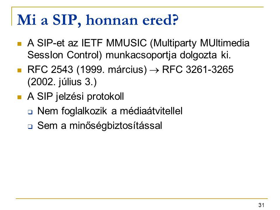 31 Mi a SIP, honnan ered? A SIP-et az IETF MMUSIC (Multiparty MUltimedia SessIon Control) munkacsoportja dolgozta ki. RFC 2543 (1999. március)  RFC 3