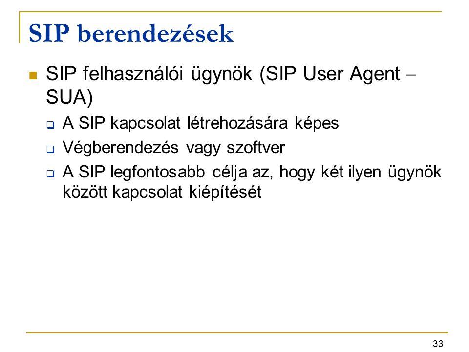 33 SIP berendezések SIP felhasználói ügynök (SIP User Agent  SUA)  A SIP kapcsolat létrehozására képes  Végberendezés vagy szoftver  A SIP legfont
