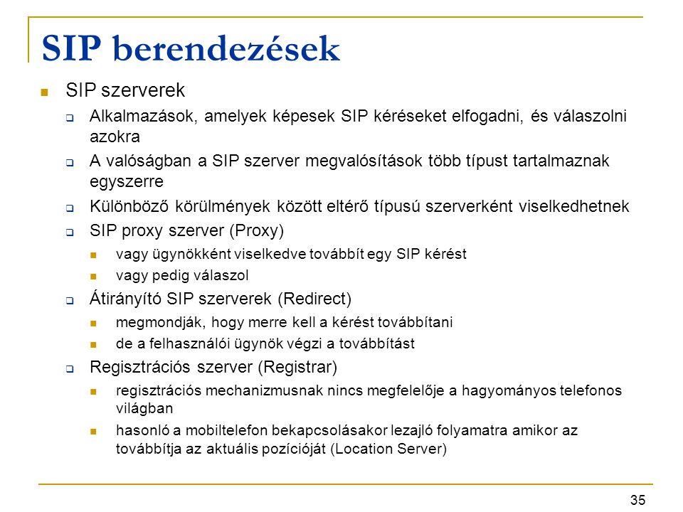35 SIP berendezések SIP szerverek  Alkalmazások, amelyek képesek SIP kéréseket elfogadni, és válaszolni azokra  A valóságban a SIP szerver megvalósí