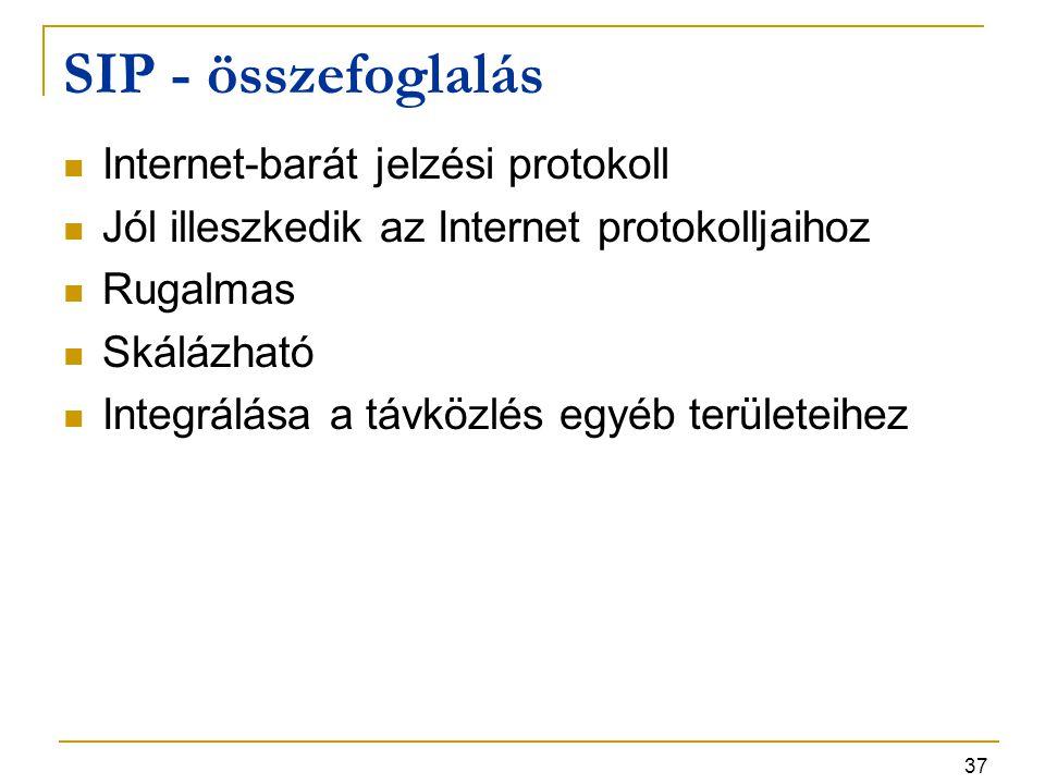 37 SIP - összefoglalás Internet-barát jelzési protokoll Jól illeszkedik az Internet protokolljaihoz Rugalmas Skálázható Integrálása a távközlés egyéb