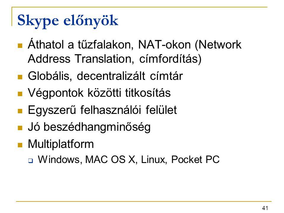 41 Skype előnyök Áthatol a tűzfalakon, NAT-okon (Network Address Translation, címfordítás) Globális, decentralizált címtár Végpontok közötti titkosítá