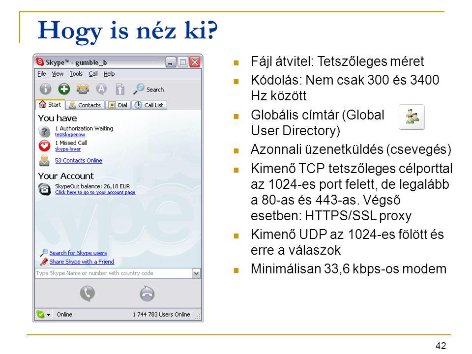 42 Hogy is néz ki? Fájl átvitel: Tetszőleges méret Kódolás: Nem csak 300 és 3400 Hz között Globális címtár (Global User Directory) Azonnali üzenetküld
