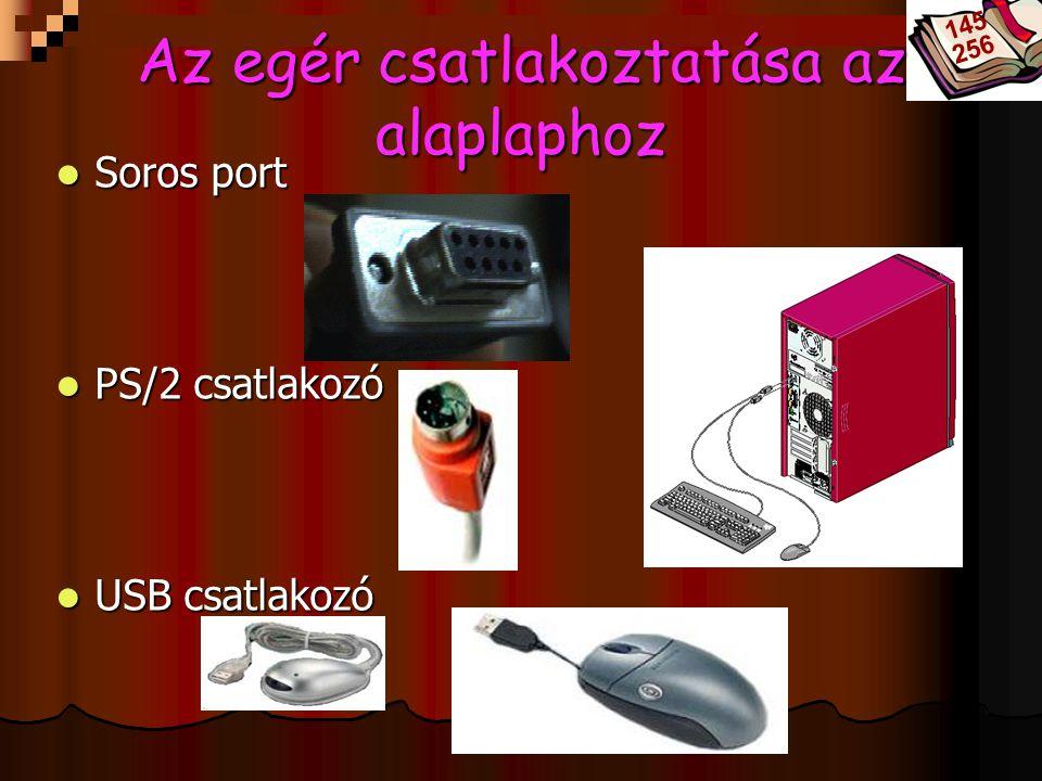 Bóta Laca Soros port Soros port PS/2 csatlakozó PS/2 csatlakozó USB csatlakozó USB csatlakozó Az egér csatlakoztatása az alaplaphoz 145 256