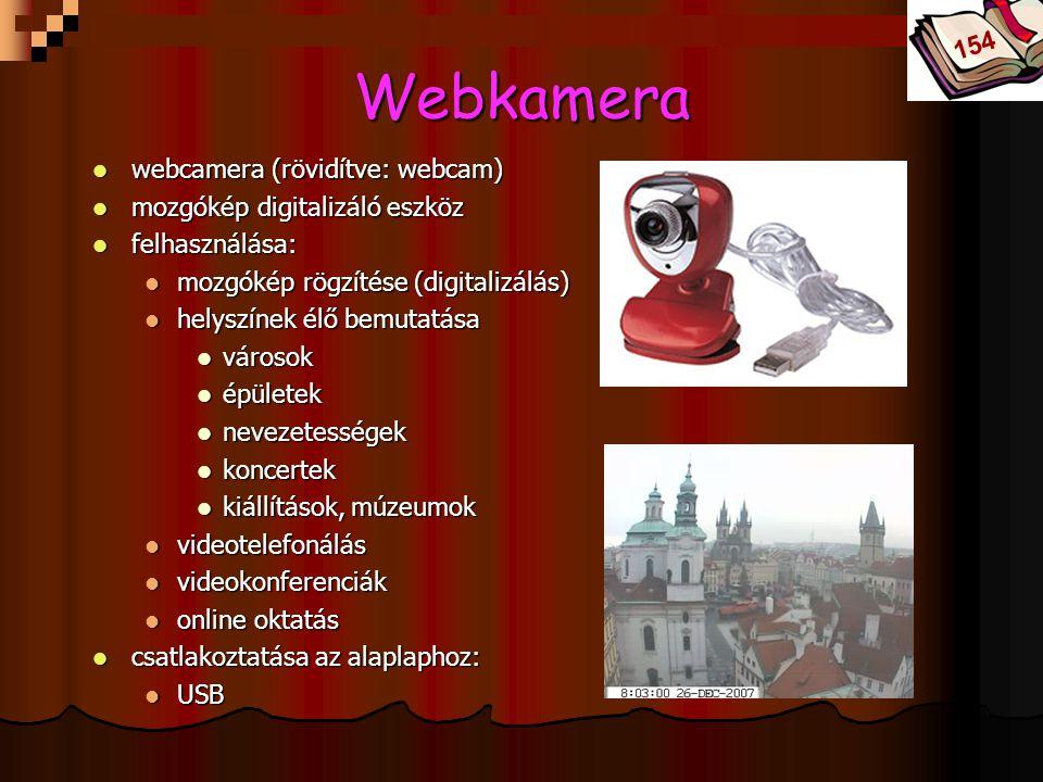 Bóta Laca Webkamera webcamera (rövidítve: webcam) webcamera (rövidítve: webcam) mozgókép digitalizáló eszköz mozgókép digitalizáló eszköz felhasználás