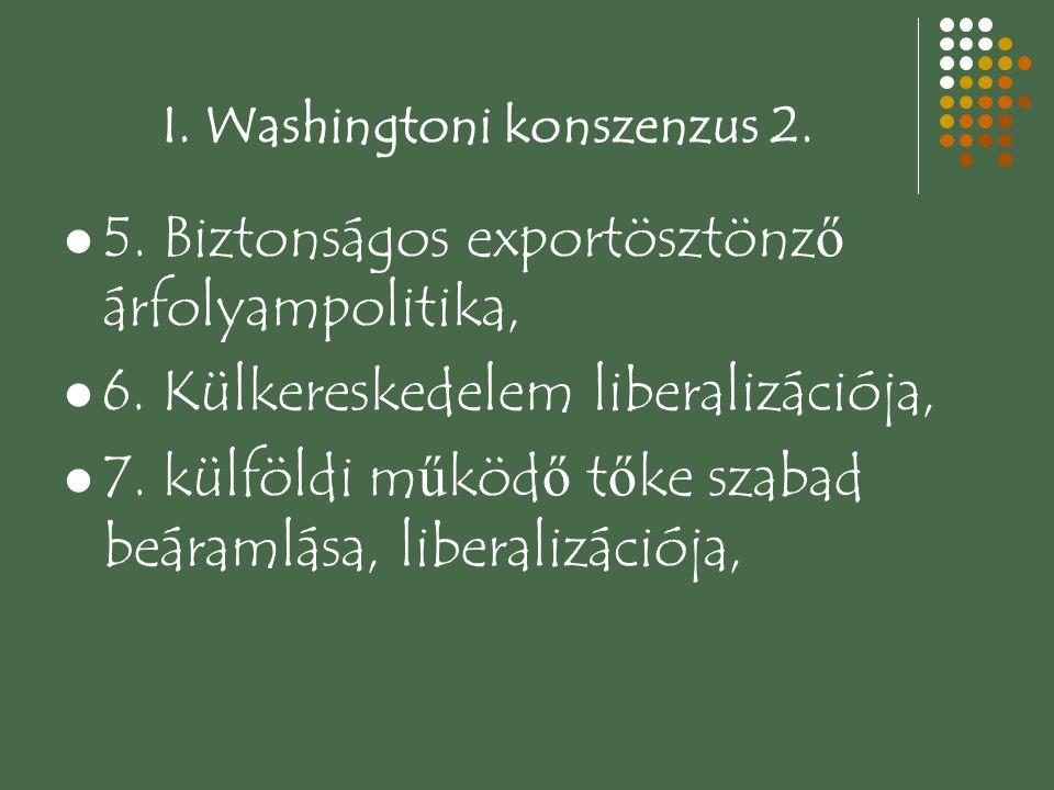 I. Washingtoni konszenzus 2. 5. Biztonságos exportösztönz ő árfolyampolitika, 6. Külkereskedelem liberalizációja, 7. külföldi m ű köd ő t ő ke szabad