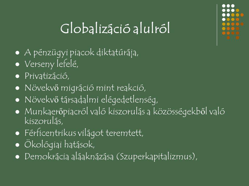 Globalizáció alulról A pénzügyi piacok diktatúrája, Verseny lefelé, Privatizáció, Növekv ő migráció mint reakció, Növekv ő társadalmi elégedetlenség, Munkaer ő piacról való kiszorulás a közösségekb ő l való kiszorulás, Férficentrikus világot teremtett, Ökológiai hatások, Demokrácia aláaknázása (Szuperkapitalizmus),
