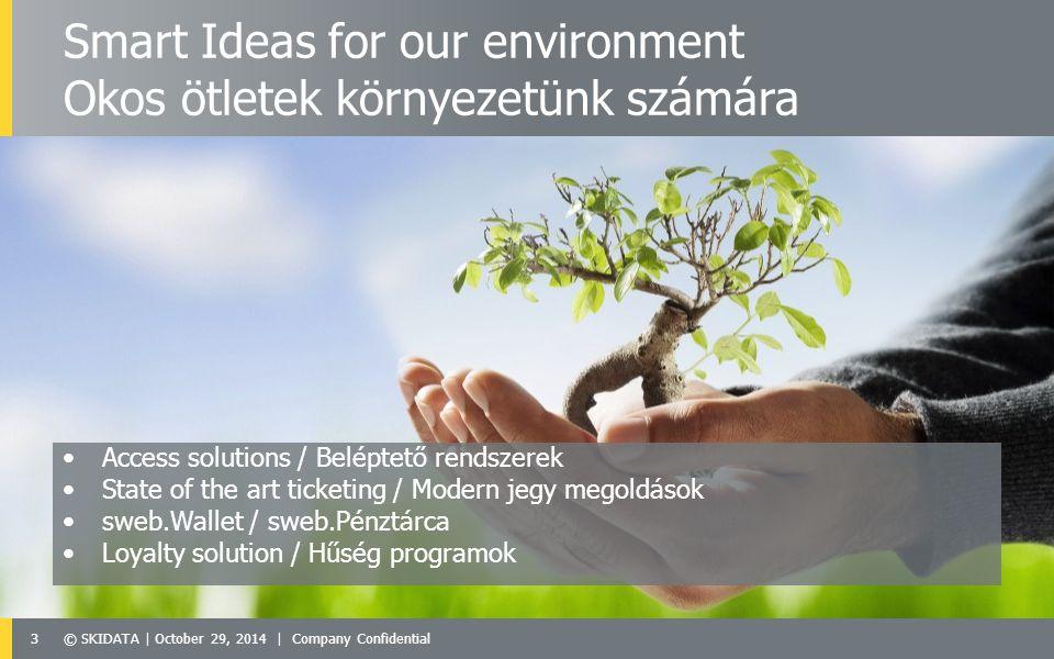 3© SKIDATA | October 29, 2014 | Company Confidential Smart Ideas for our environment Okos ötletek környezetünk számára Access solutions / Beléptető rendszerek State of the art ticketing / Modern jegy megoldások sweb.Wallet / sweb.Pénztárca Loyalty solution / Hűség programok