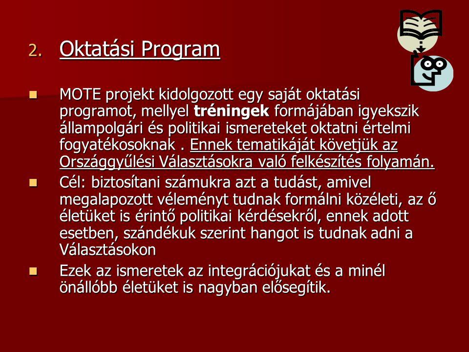 2. Oktatási Program MOTE projekt kidolgozott egy saját oktatási programot, mellyel tréningek formájában igyekszik állampolgári és politikai ismereteke