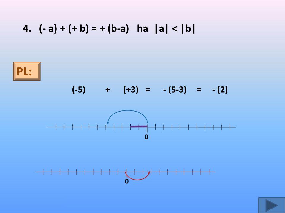 =- (2) 4. (- a) + (+ b) = + (b-a) ha |a| < |b| PL: (-5)+(+3)= 0 - (5-3)