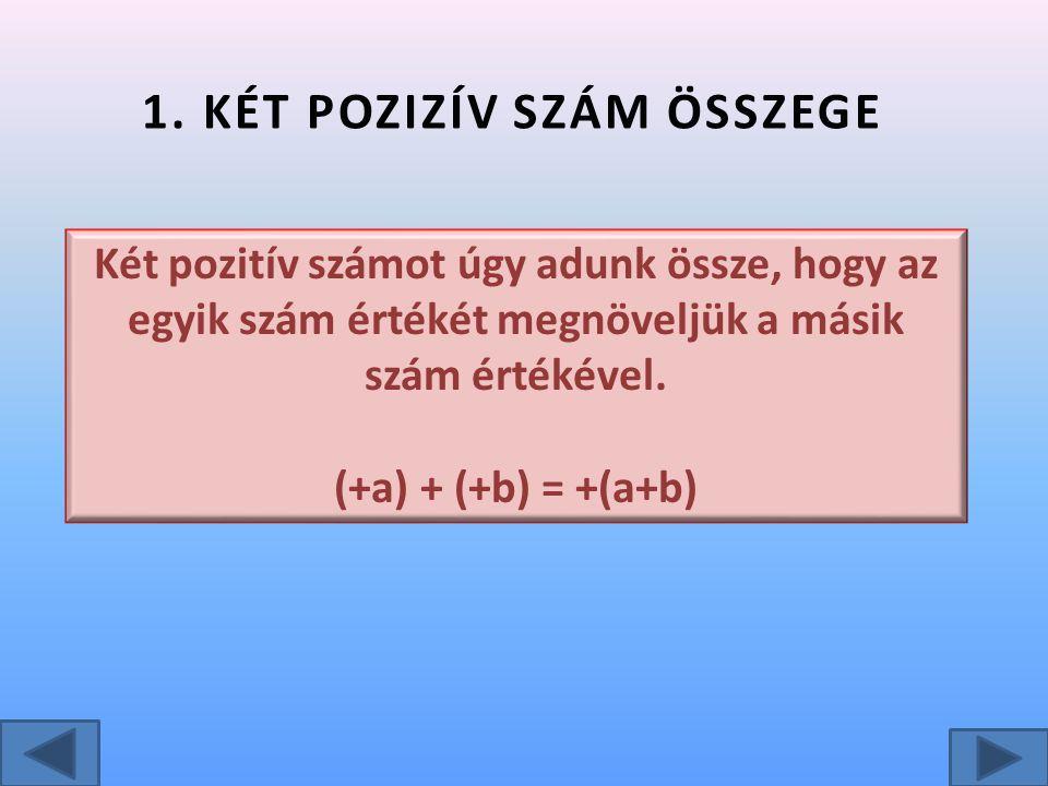 1. KÉT POZIZÍV SZÁM ÖSSZEGE Két pozitív számot úgy adunk össze, hogy az egyik szám értékét megnöveljük a másik szám értékével. (+a) + (+b) = +(a+b)