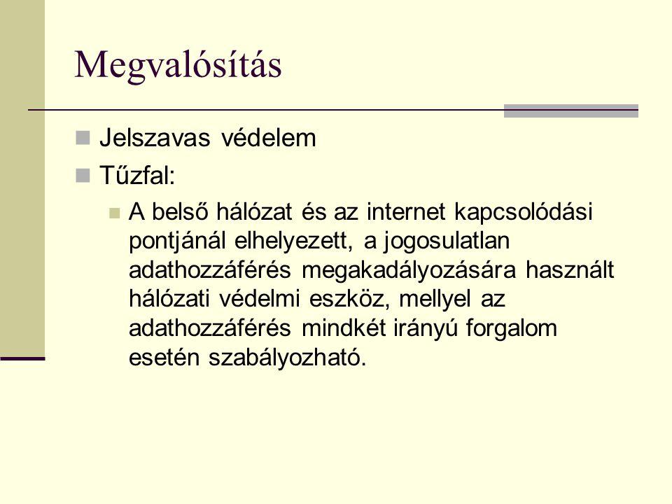 Megvalósítás Jelszavas védelem Tűzfal: A belső hálózat és az internet kapcsolódási pontjánál elhelyezett, a jogosulatlan adathozzáférés megakadályozására használt hálózati védelmi eszköz, mellyel az adathozzáférés mindkét irányú forgalom esetén szabályozható.