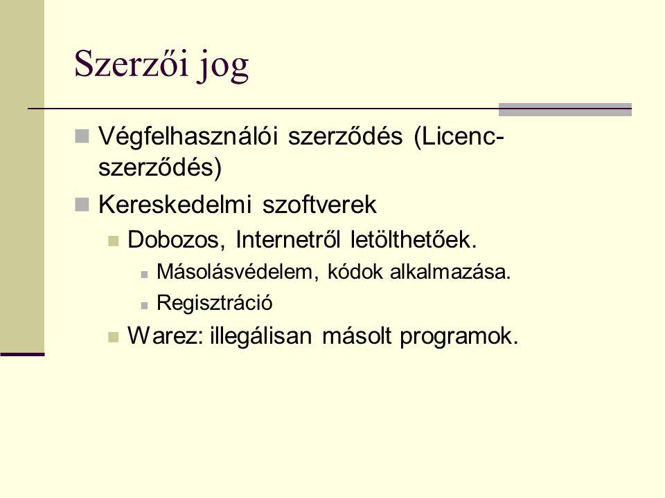 Szerzői jog Végfelhasználói szerződés (Licenc- szerződés) Kereskedelmi szoftverek Dobozos, Internetről letölthetőek.