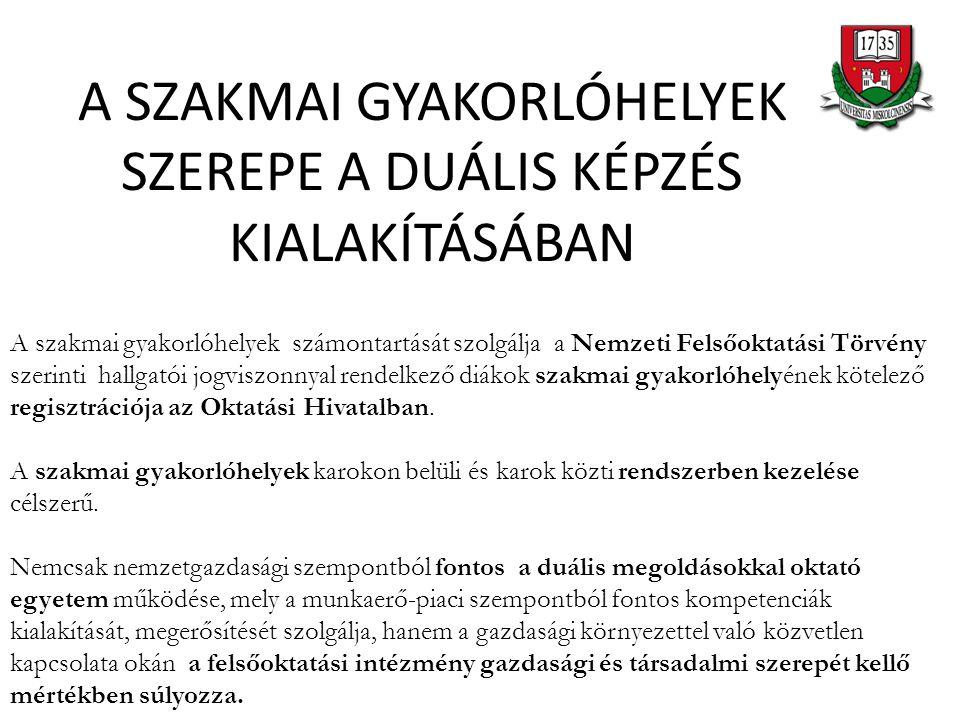 A SZAKMAI GYAKORLÓHELYEK SZEREPE A DUÁLIS KÉPZÉS KIALAKÍTÁSÁBAN A szakmai gyakorlóhelyek számontartását szolgálja a Nemzeti Felsőoktatási Törvény szer