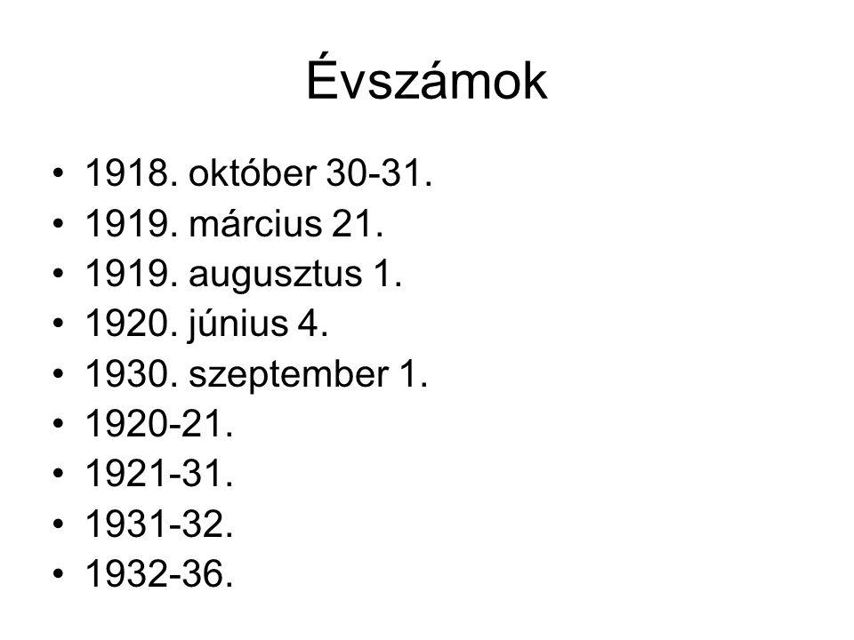 Évszámok 1918. október 30-31. 1919. március 21. 1919. augusztus 1. 1920. június 4. 1930. szeptember 1. 1920-21. 1921-31. 1931-32. 1932-36.