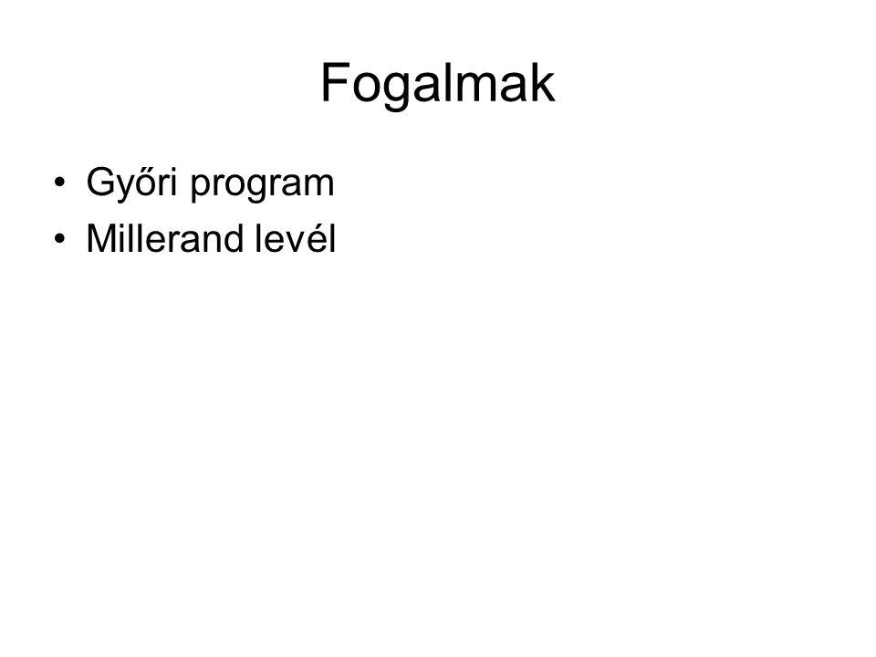 Fogalmak Győri program Millerand levél
