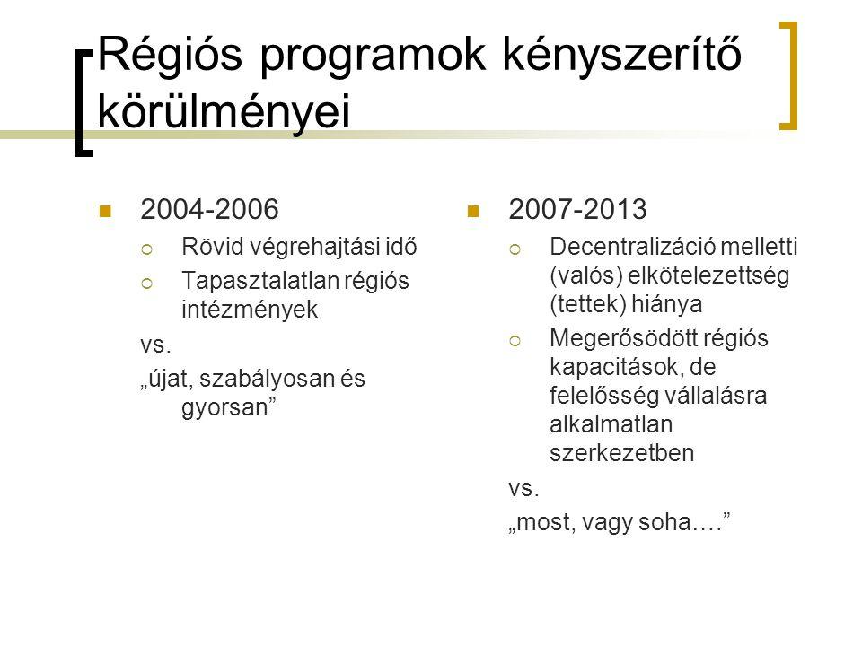 Régiós programok kényszerítő körülményei 2004-2006  Rövid végrehajtási idő  Tapasztalatlan régiós intézmények vs.
