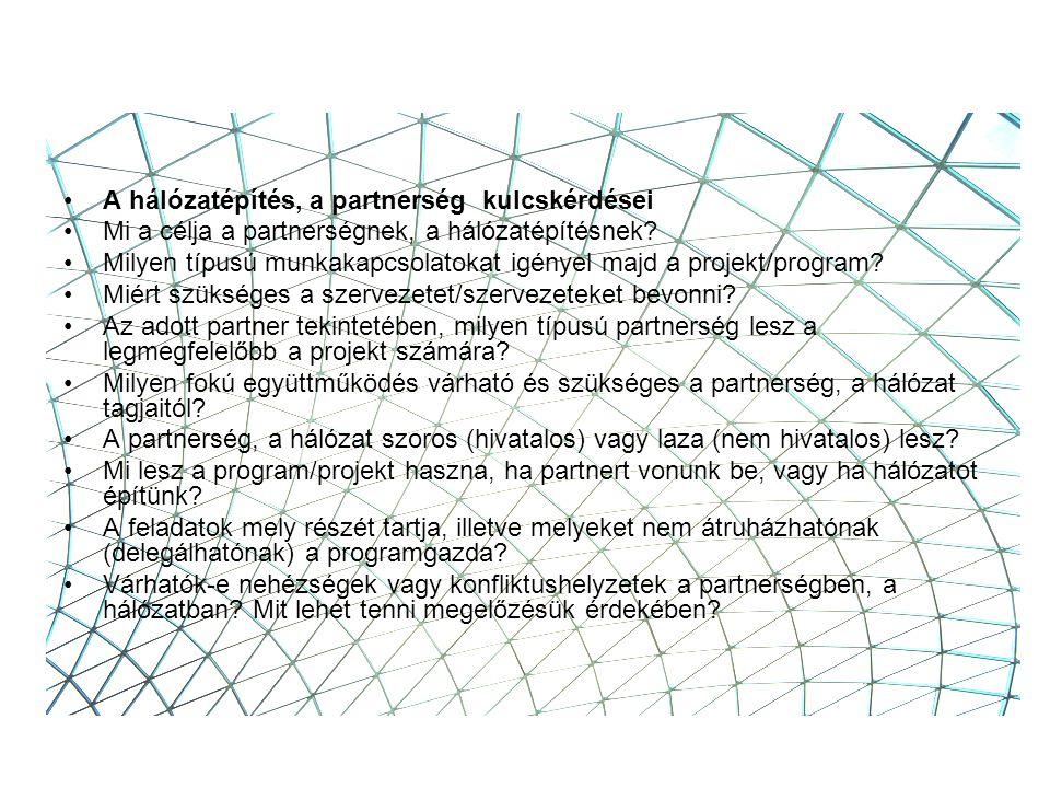 A hálózatépítés, a partnerség kulcskérdései Mi a célja a partnerségnek, a hálózatépítésnek.
