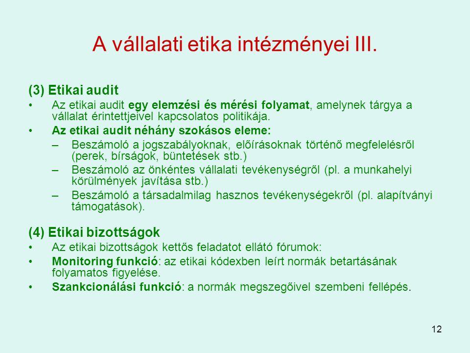 12 A vállalati etika intézményei III. (3) Etikai audit Az etikai audit egy elemzési és mérési folyamat, amelynek tárgya a vállalat érintettjeivel kapc