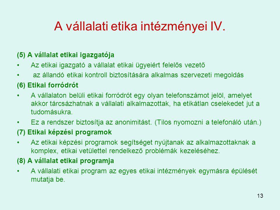 13 A vállalati etika intézményei IV. (5) A vállalat etikai igazgatója Az etikai igazgató a vállalat etikai ügyeiért felelős vezető az állandó etikai k