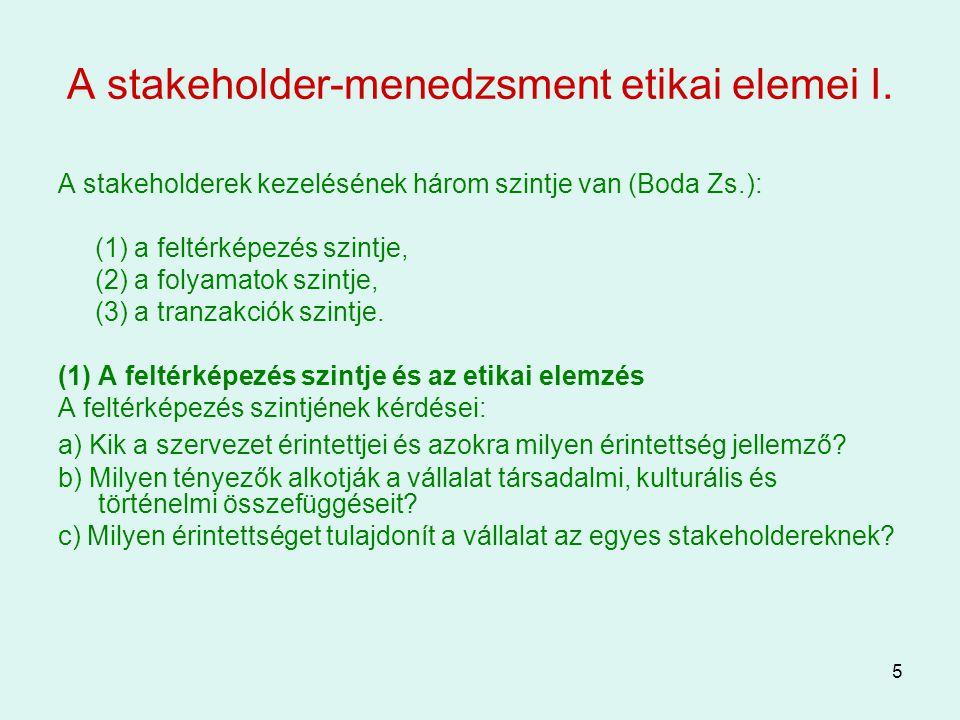 5 A stakeholder-menedzsment etikai elemei I. A stakeholderek kezelésének három szintje van (Boda Zs.): (1) a feltérképezés szintje, (2) a folyamatok s