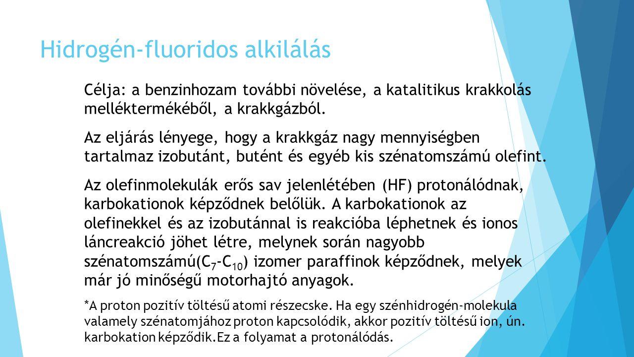 Hidrogén-fluoridos alkilálás Célja: a benzinhozam további növelése, a katalitikus krakkolás melléktermékéből, a krakkgázból. Az eljárás lényege, hogy